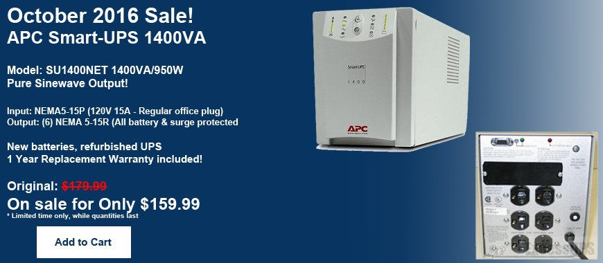 APC Smart-UPS 1400VA SU1400NET - On sale for October 2016 - Only $159.99