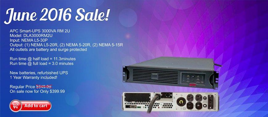 APC Smart-UPS 3000VA RM 2U DLA3000RM2U On Sale Now for June 2016